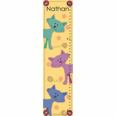Green Leaf Art Cats on Yellow Growth Chart in Yellow