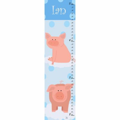 Green Leaf Art Little Pigs Growth Chart in Blue