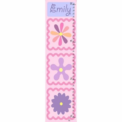 Green Leaf Art Flowers Shapes on Pink Growth Chart in Pink