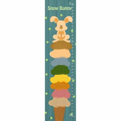 Green Leaf Art Bunny Ice Cream Growth Chart in Teal