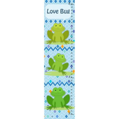 Green Leaf Art Frogs Growth Chart in Blue/Green