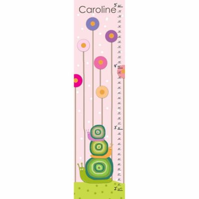 Green Leaf Art Snails Family Growth Chart in Pink