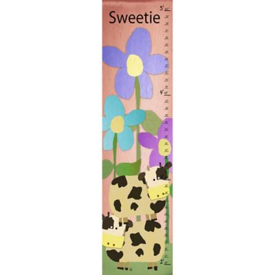 Green Leaf Art Cows Multicolored Growth Chart
