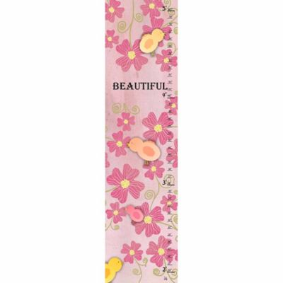 Green Leaf Art Birds and Flowers Growth Chart in Pink