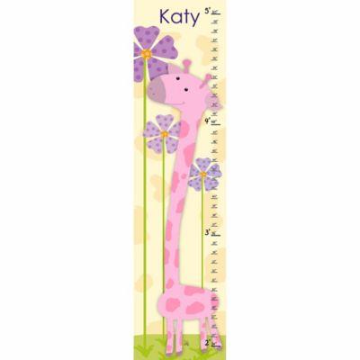 Green Leaf Art Giraffe Growth Chart in Pink / Yellow