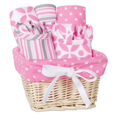 Feeding Gift Sets > Trend Lab Lily 7-Piece Feeding Set Gift Basket in Pink