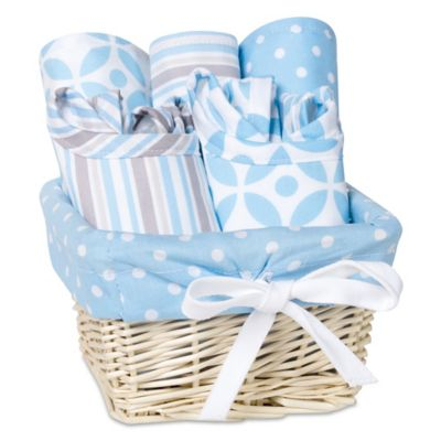 Feeding Gift Sets > Trend Lab Logan 7-Piece Feeding Set Gift Basket in Blue