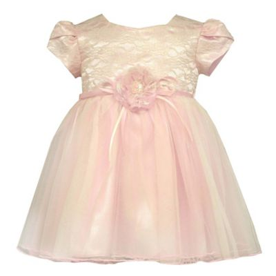 Bonnie Baby Size 6-9M Short Sleeve Lace Ballerina Dress in Pink