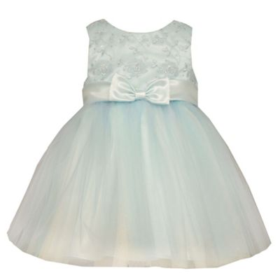 Bonnie Baby Size 0-3M Sleeveless Embroidered Floral Ballerina Dress in Turquoise