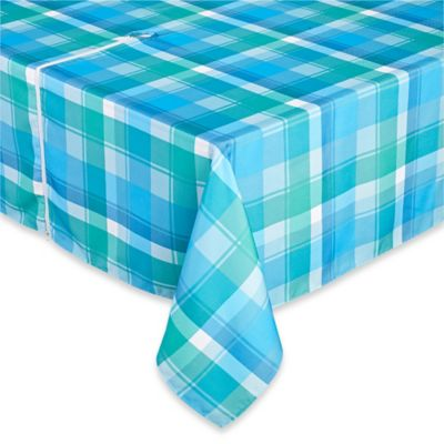 Phoenix Plaid 70-Inch Round Umbrella Tablecloth in Blue