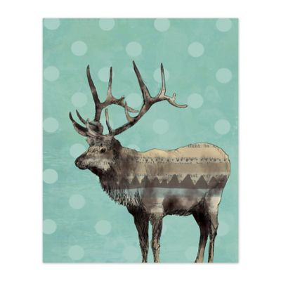 Pied Piper Creative Playful Polka Dot Elk 16-Inch x 20-Inch Canvas Wall Art
