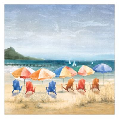 Beach Umbrella Heaven 36-Inch x 36-Inch Canvas Wall Art