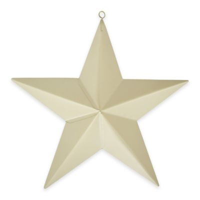 Metal Star Plaque in Ivory