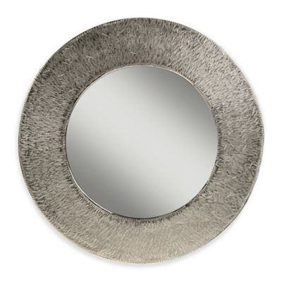 Hand Carved 16-Inch Round Aluminum Mirror