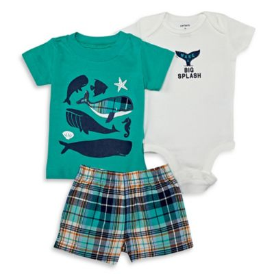 "carter's® Size 9M 3-Piece ""Make A Big Splash"" Whale Bodysuit, Shirt, and Short Set in Teal"