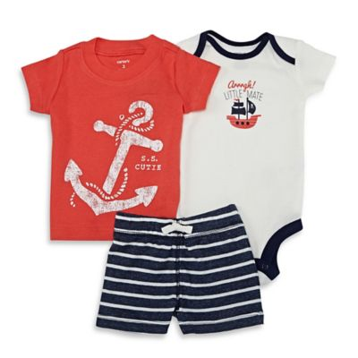 carter's® Size 9M 3-Piece Nautical Bodysuit, Shirt, and Short Set in Red