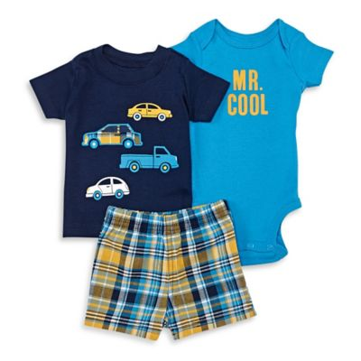 """carter's® Size 18M 3-Piece """"Mr. Cool"""" Bodysuit, Shirt, and Short Set in Navy"""