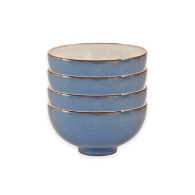 Denby Heritage Fountain Rice Bowls in Blue (Set of 4)