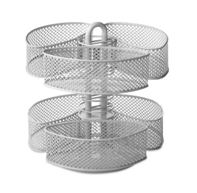 Mesh Cosmetic Organizer Carousel with Removable Baskets in Silver
