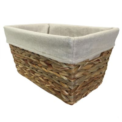 Single Arrow Weave Tapered Basket with Liner in Beige/Natural