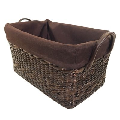 Single Tapered Rice Nut Weave Rush Basket with Liner in Espresso
