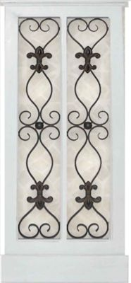 Iron and Wood Panel Wall Art in White