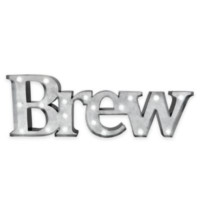 "Loft Living LED Marquee ""Brew"" Metal Wall Art"