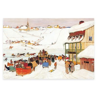 Clarence Gagnon Horse Race in Winter Canvas Wall Art