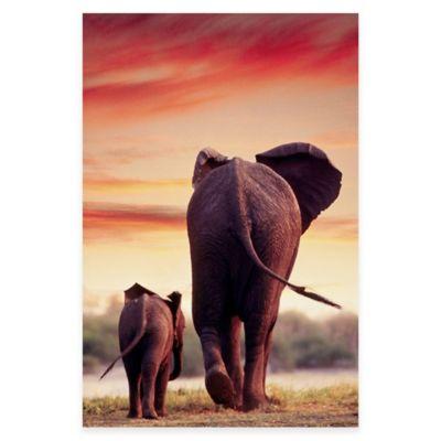 Elephant Walking with Calf Canvas Wall Art