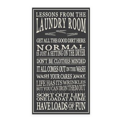 Lessons from the Laundry Room Wood Sign Wall Art in Black