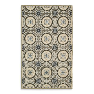 Safavieh Four Seasons Medallion Indoor/Outdoor 6-Foot Square Rug in Grey/Blue