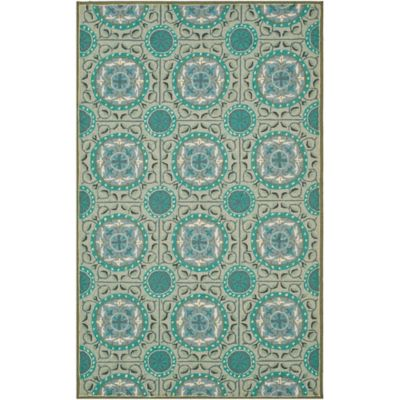 Safavieh Four Seasons Medallion Indoor/Outdoor 6-Foot x 9-Foot Area Rug in Aqua/Multi