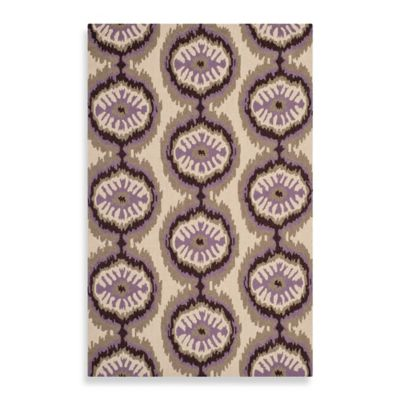 Safavieh Four Seasons Ikat Indoor/Outdoor 2-Foot 6-Inch x 4-Foot Runner in Beige/Purple