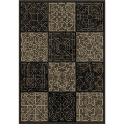 Orian Galaxy Dark Domino 5-Foot 3-Inch x 7-Foot 6-Inch Area Rug in Black