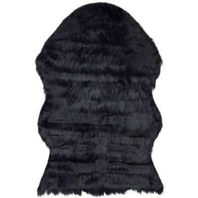 Safavieh Faux Sheep Skin Hide 4-Foot x 6-Foot Area Rug in Black