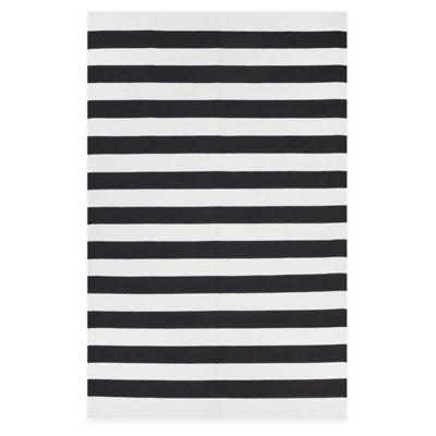 Fab Habitat Nantucket Stripe 2-Foot x 3-Foot Accent Rug in Black/White