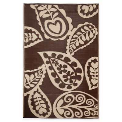 Fab Habitat Paisley Indoor/Outdoor Area Rug in Chestnut/Cream