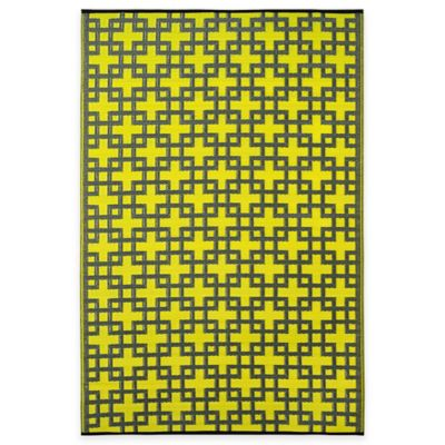 Fab Habitat Rheinsberg Tiles 4-Foot x 6-Foot Indoor/Outdoor Area Rug in Lime