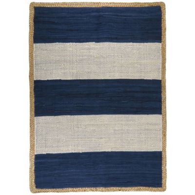 Park B. Smith Karur Jute Border 2-Foot x 3-Foot Accent Rug in Navy & White Stripe