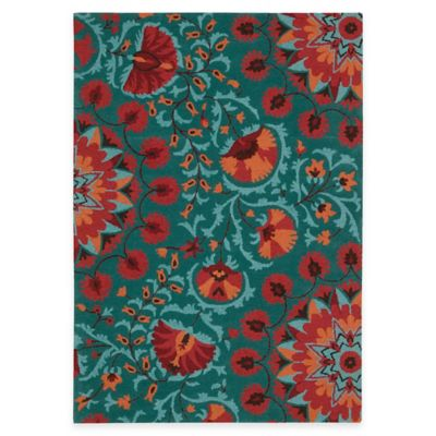 Suzani 5-Foot 3-Inch x 7-Foot 5-Inch Area Rug in Teal