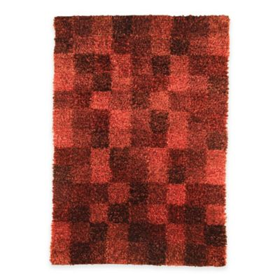 Bricks Shag 5-Foot 6-Inch x 7-Foot 10-Inch Area Rug in Brown