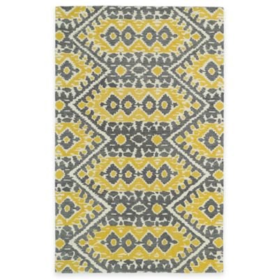 Kaleen Global Inspirations Tribal Zig Zag 3-Foot 6-Inch x 5-Foot 6-Inch Area Rug in Yellow