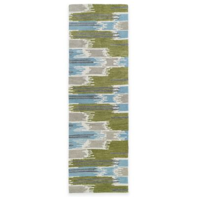 Kaleen Global Inspirations Watercolor Ikat 2-Foot 6-Inch x 8-Foot Runner in Wasabi