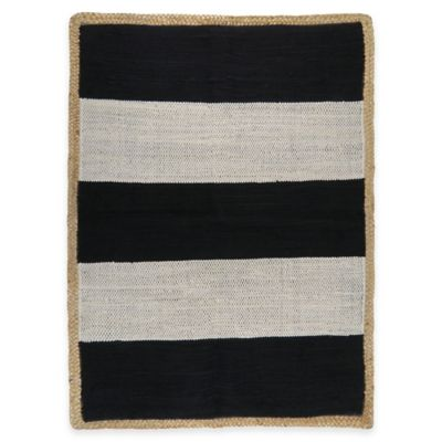 Park B. Smith Jute Border 2-Foot x 3-Foot Accent Rug in Ivory & Black Stripe