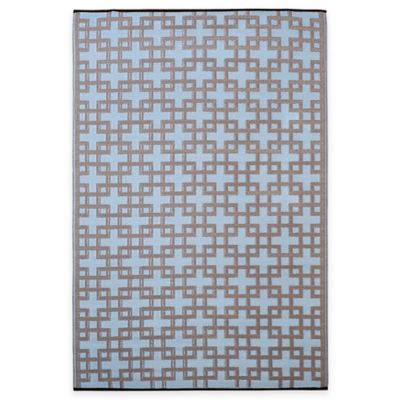 Fab Habitat Rheinsberg Tiles 3-Foot x 5-Foot Area Rug in Blue/Taupe