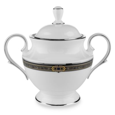 Lenox® Vintage Jewel® Covered Sugar Bowl in White/Platinum