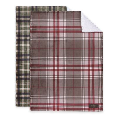 Remington® Ultra Velvet Plaid Reversible Throw Blanket in Grey