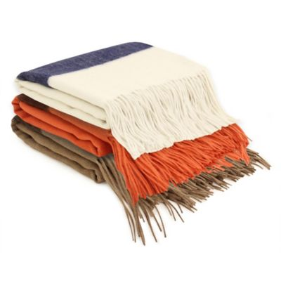 PUR Cashmere Striped Merino Wool Throw in Crème