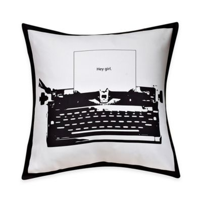 Typewriter Print Throw Pillow in Black/White