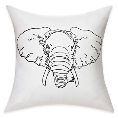 Embroidered Elephant Cotton Throw Pillow in Black/White